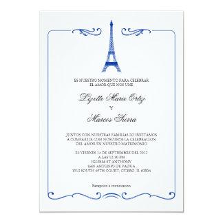Invitación elegante del boda de la torre Eiffel