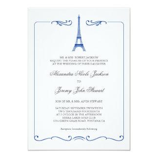 Invitación elegante del boda de la torre Eiffel Invitación 12,7 X 17,8 Cm