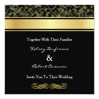 Invitación elegante del boda del camuflaje