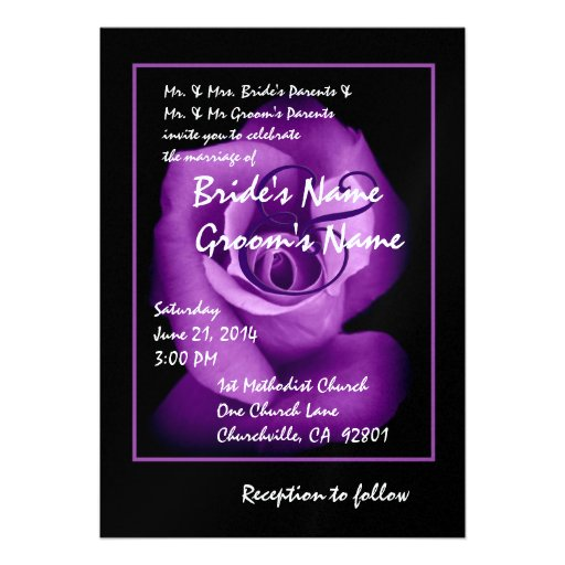 Invitación elegante del boda del capullo de rosa d
