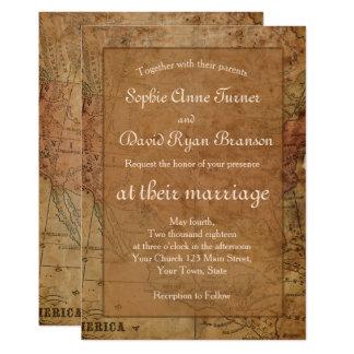 Invitación elegante del boda del destino del mapa