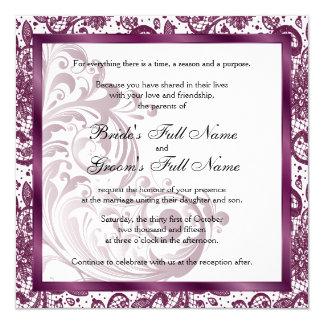 Tarjeta Invitación elegante del boda - púrpura