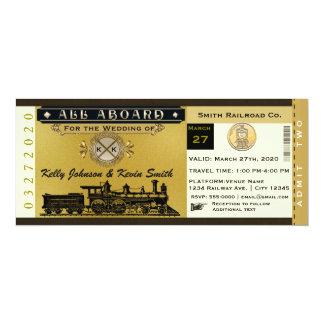Invitación elegante del boleto de tren del boda invitación 10,1 x 23,5 cm