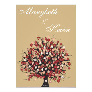 invitación elegante del compromiso del árbol de la