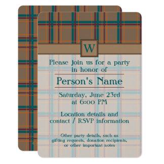 Invitación elegante del fiesta de la tela escocesa
