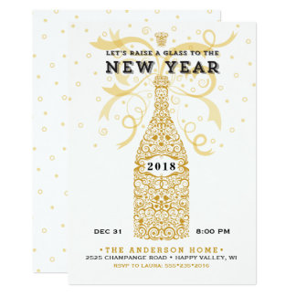 Invitación elegante del fiesta del Año Nuevo 2018