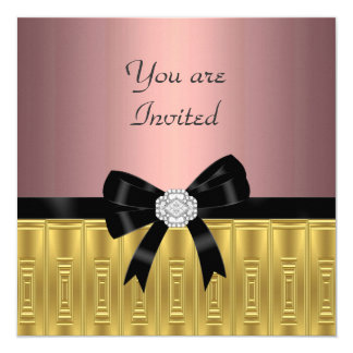 Invitación elegante del fiesta del oro rosado