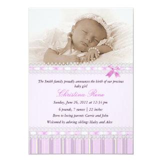 Invitación elegante del nacimiento de la foto -