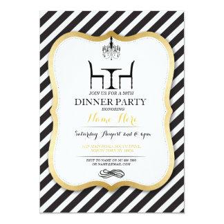 Invitación elegante del oro del fiesta de cena del