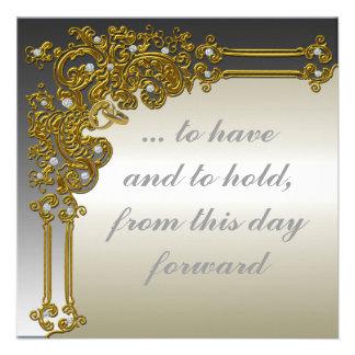 Invitación elegante del oro y de la bodas de plata