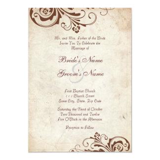 Invitación elegante floral del boda del vintage de