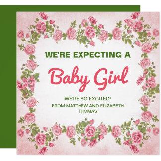 Invitación elegante floral linda del embarazo de