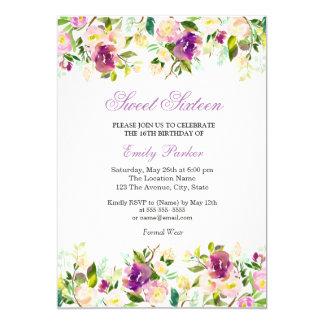 Invitación elegante floral púrpura del dulce