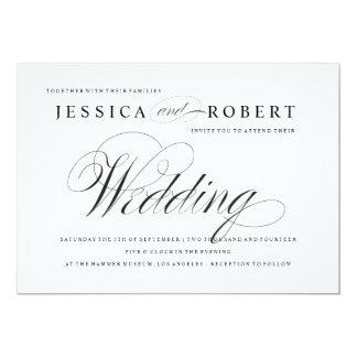 Invitación elegante negra y blanca del boda de la invitación 12,7 x 17,8 cm