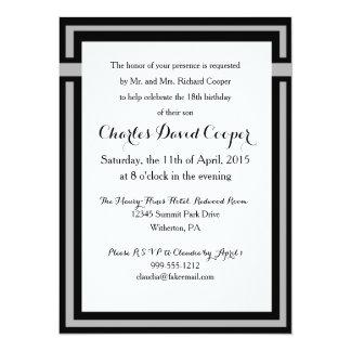 Invitación elegante negra y gris