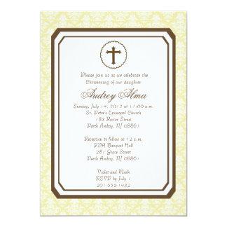 Invitación elegante neutral del bautizo - amarillo