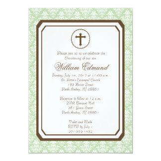 Invitación elegante neutral del bautizo - verde