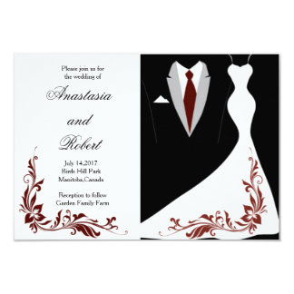 Invitación elegante, simple del boda, vestido de