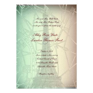 Invitación en colores pastel del boda de la torre