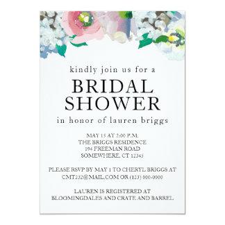 Invitación en colores pastel floral de la acuarela