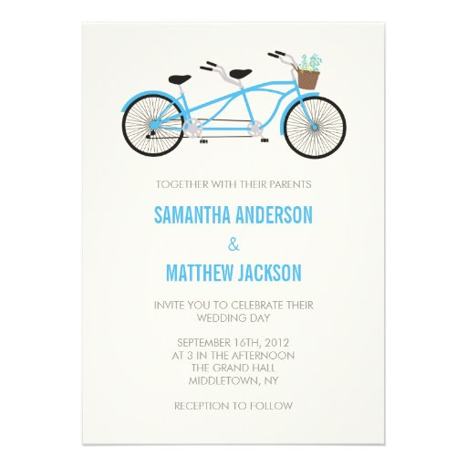 Invitaci n en t ndem del boda de la bici azul invitaci n - La bici azul ...
