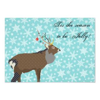 Invitación encantadora del navidad de los alces invitación 12,7 x 17,8 cm