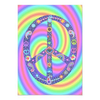 Invitación enrrollada del signo de la paz invitación 12,7 x 17,8 cm