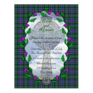 Invitación escocesa del boda del tonelero postal