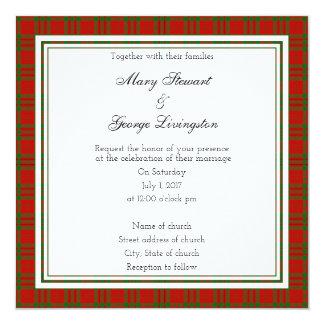 Invitación escocesa del cuadrado del boda de