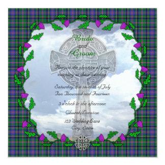 Invitación escocesa del cuadrado del boda del