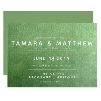 Invitación esmeralda del boda de la ciudad