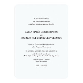 Invitación española clásica simple del boda