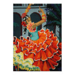 Invitación española del bailarín del flamenco invitación 12,7 x 17,8 cm