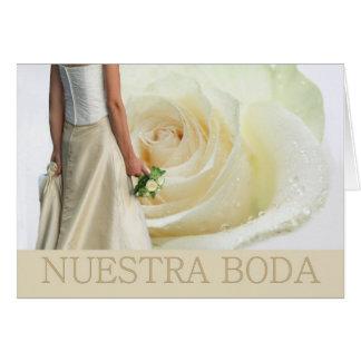 Invitación española del boda del rosa blanco de tarjeta de felicitación
