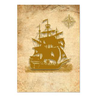 Invitación-estilo 1 del barco pirata invitación 12,7 x 17,8 cm