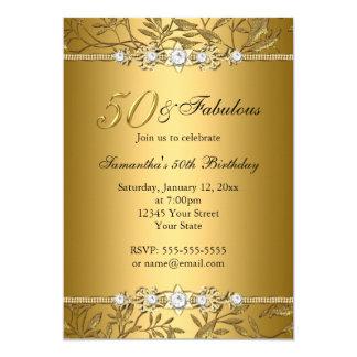 Tarjeta Invitación fabulosa del cumpleaños de la hoja 50