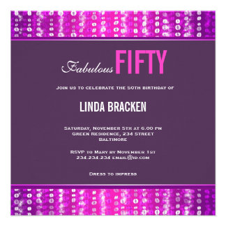 Invitación fabulosa violeta cincuenta de las gotas