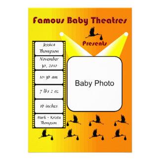 Invitación famosa del teatro del bebé