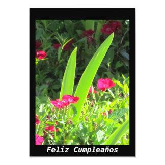 Invitación - Feliz Cumpleaños - flores rosadas
