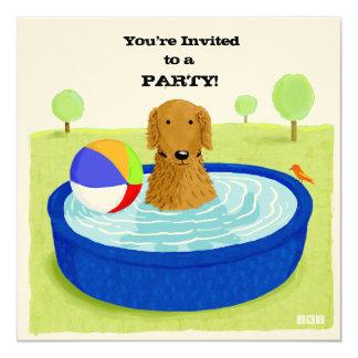 Invitación feliz de la fiesta en la piscina del