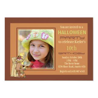 Invitación feliz de la foto del espantapájaros invitación 12,7 x 17,8 cm