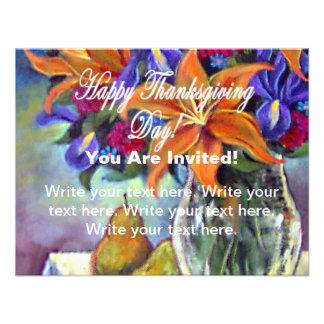 Invitación feliz de las flores y de las peras del