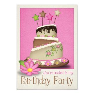 Invitación femenina de la fiesta de cumpleaños invitación 12,7 x 17,8 cm
