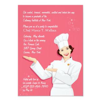 Invitación femenina de la graduación del cocinero invitación 12,7 x 17,8 cm