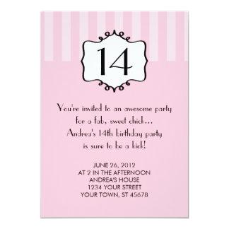 Invitación femenina del cumpleaños del adolescente