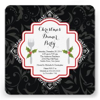 Invitación festiva del fiesta de cena de navidad