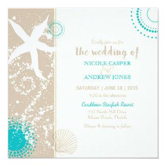 Invitación festivamente elegante del boda de playa