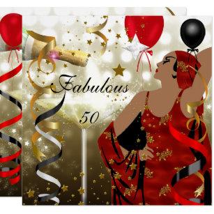 Invitación Fiesta De Cumpleaños Atractiva Cincuenta De Señora