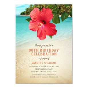 Invitación Fiesta De Cumpleaños Temática Hawaiana De La Playa