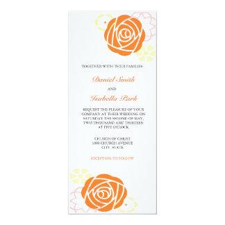 Invitación floral 4 x 9 del boda del amarillo